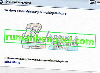Correção: o Windows não detectou nenhum hardware de rede