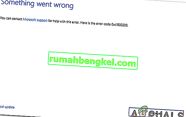 Как да коригирам грешка в актуализацията на Windows 10 0xc1900200?
