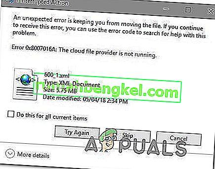 Cómo corregir el error 0x8007016a & lsquo; El proveedor de archivos en la nube no funciona & rsquo;