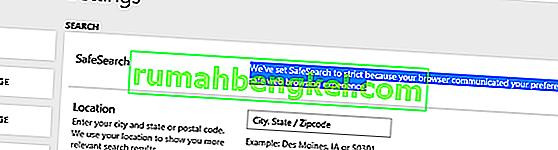 Поправка: Безопасното търсене не е изключено в Microsoft Edge и IE