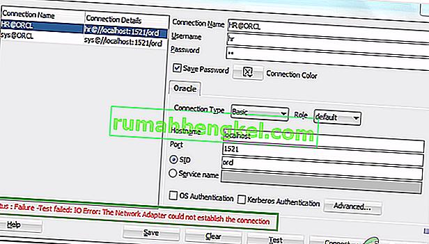Cómo reparar & lsquo; Error de IO: el adaptador de red no pudo establecer la conexión & rsquo; en Oracle SQL?
