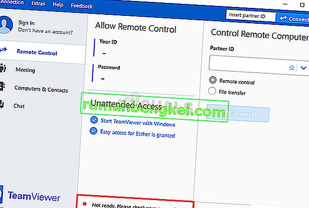 כיצד לתקן את TeamViewer & lsquo; לא מוכן בדוק את החיבור שלך & rsquo; שגיאה ב- Windows?