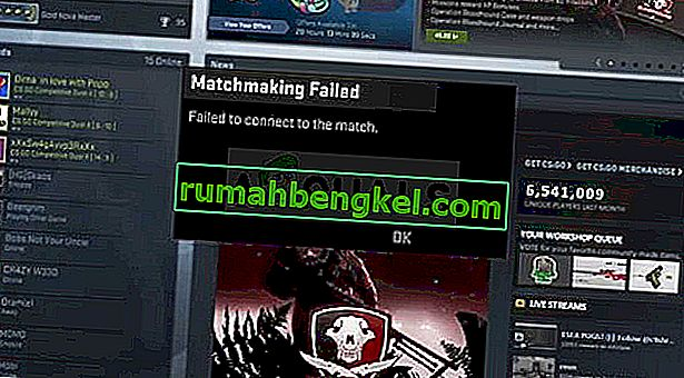 Как да коригирам CS: GO не успя да се свърже с мача