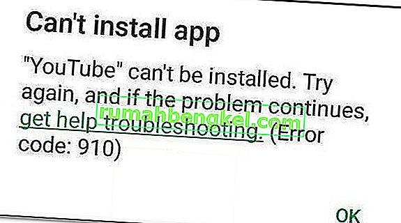 修正:Google Playのエラー910' Cant install app'