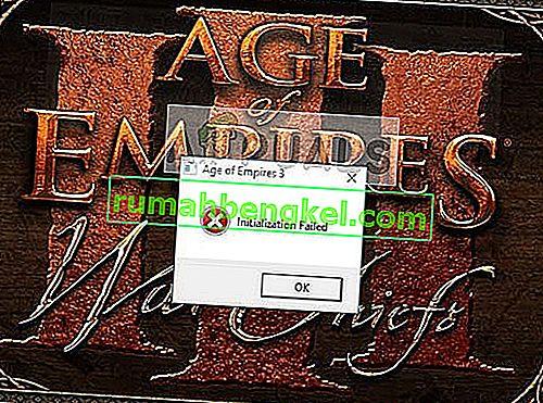 Поправка: Age of Empires 3 не успя да се инициализира