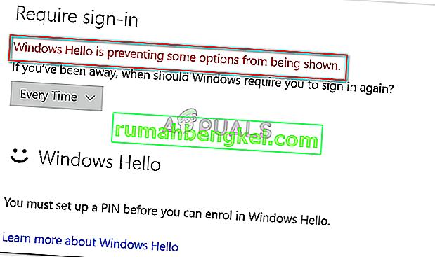 Correção: o Windows Hello está impedindo que algumas opções sejam mostradas