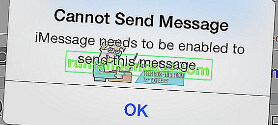 Solución: iMessage debe estar habilitado para enviar este mensaje