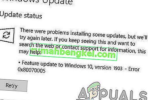 ¿Cómo corregir el error 0x80070005 en Windows 10 Feature Update 1903?