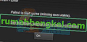 Solución: no se pudo iniciar el juego (falta el ejecutable)