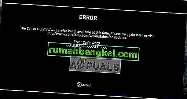 Arreglo: Código de error 4220 de COD WW2