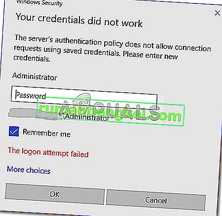 תיקון: האישורים שלך לא פעלו בשולחן עבודה מרוחק
