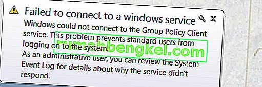 修正:Windowsサービスへの接続に失敗しました