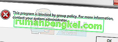 수정 :이 프로그램은 그룹 정책에 의해 차단되었습니다.