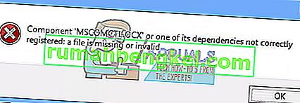 Поправка: Компонент & lsquo; MSCOMCTL.OCX & rsquo; или една от неговите зависимости не е регистрирана правилно: файл липсва или е невалиден