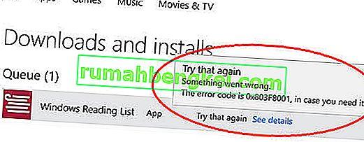 修正:Windows 10ストアエラーコード0x803F8001