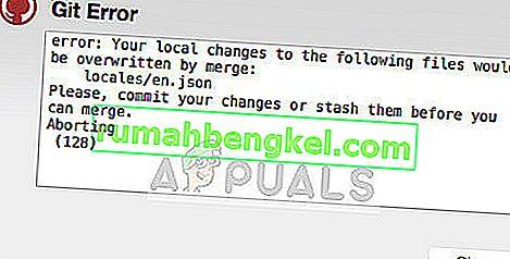 Как да коригирам Git Error & lsquo; Вашите локални промени в следните файлове ще бъдат заменени от merge & rsquo;