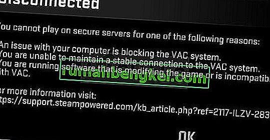 ' VACによって切断された'を修正する方法:安全なサーバーでは再生できません' Windowsのエラー?