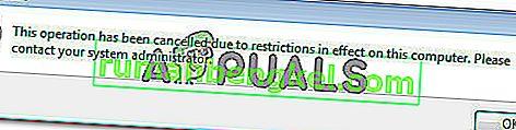 수정 : 조직의 정책으로 인해이 작업을 완료 할 수 없습니다.