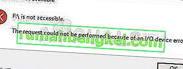 Как да коригирам & lsquo; Заявката не може да бъде изпълнена поради грешка на I / O устройство & rsquo; на Windows 10?