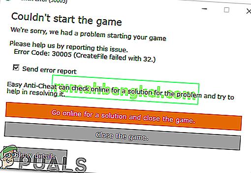 Грешка 30005: Създаването на файл е неуспешно с 32 & lsquo; не може да започне играта & rsquo;
