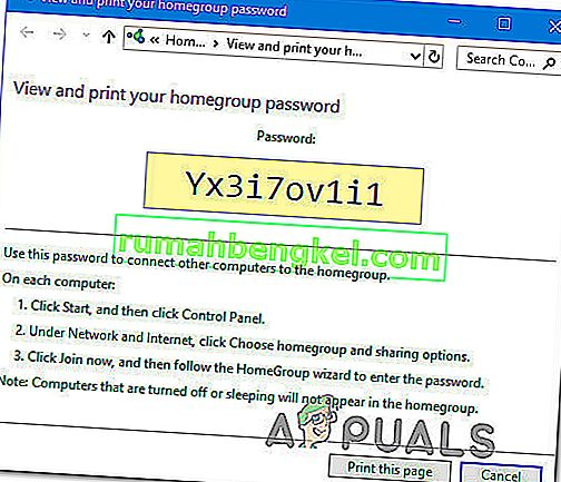 Windows 10でホームグループのパスワードを取得または表示する方法