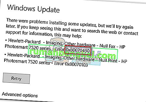 수정 : Windows 업데이트 오류 0x80070490