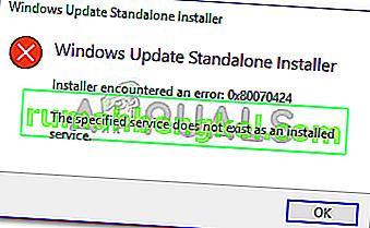 Исправлено: ошибка Центра обновления Windows 0x80070424