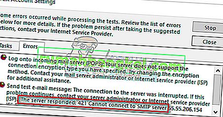 Solución: 421 no se puede conectar al servidor SMTP