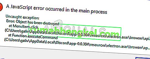 Jak naprawić błąd & lsquo; JavaScript występujący w procesie głównym & rsquo; Błąd w Discordzie?