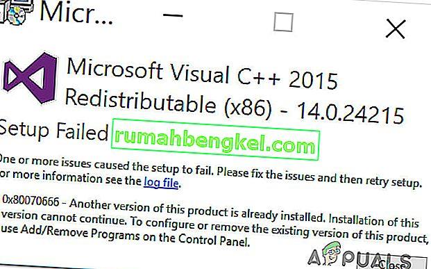 수정 : Microsoft Visual C ++ 설치시 오류 0x80070666