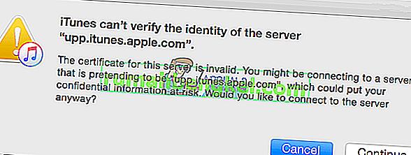 Поправка: iTunes не може да проверява самоличността на сървъра