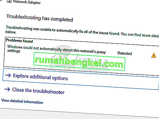 Correção: o Windows não detectou automaticamente as configurações de proxy desta rede