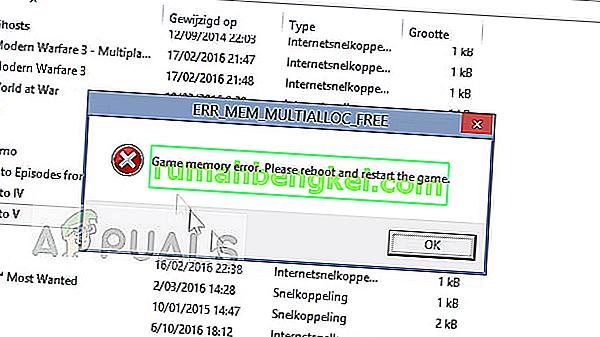 修正:ゲームメモリエラーGTA 5' ERR_MEM_MULTIALLOC_FREE'