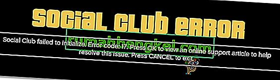 Как да коригирам GTA V Social Club, който не успя да се инициализира (Код на грешка 17)?