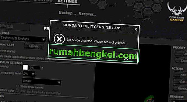 Как да коригирам нито едно устройство, открито в Corsair Utility Engine?