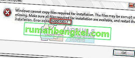 수정 : Windows 설치 오류 0x80070017