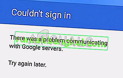 Solución: hubo un problema al comunicarse con los servidores de Google