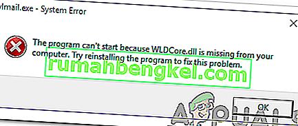 Arreglo: WLDCore.dll falta error