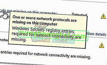 Виправлення: відсутні записи в реєстрі розеток Windows, необхідні для підключення до мережі