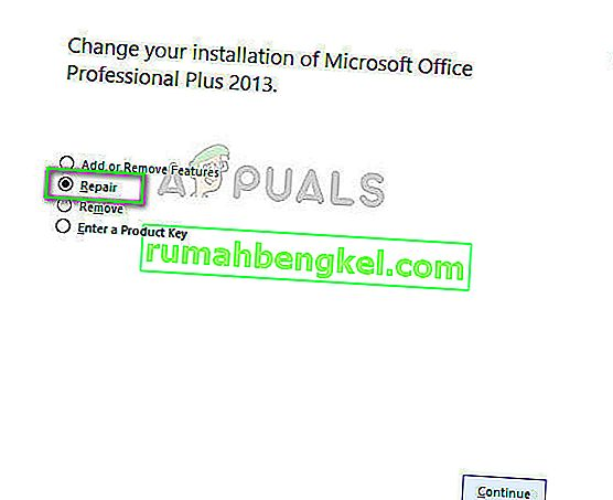 جارٍ بدء Microsoft Office Repair في Microsoft Windows