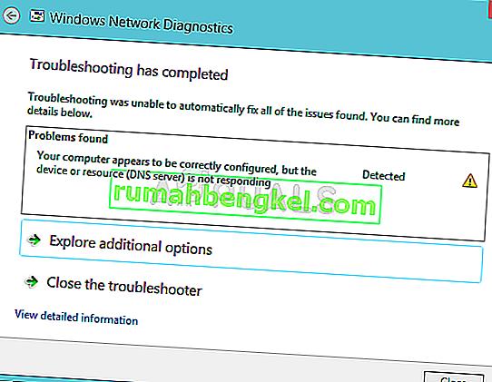 修正:コンピューターは正しく構成されているように見えますが、デバイスまたはリソース(DNSサーバー)が応答していません