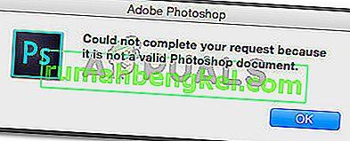 修正:有効なPhotoshopドキュメントではないため、リクエストを完了できませんでした