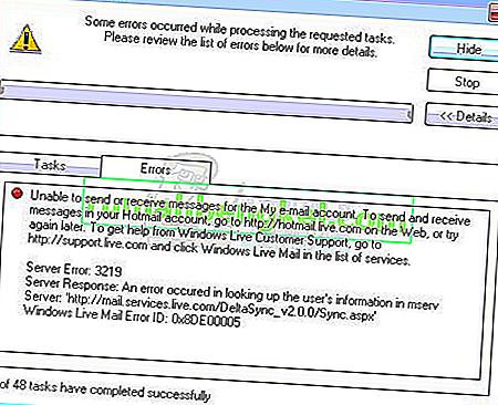 Как исправить ошибку 3219 почтового сервера Windows Live (0x8DE00005)