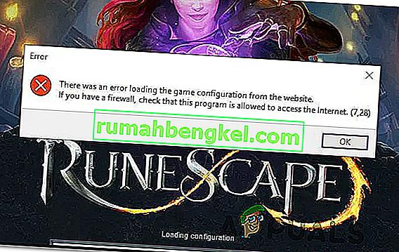 & lsquo; Error al cargar la configuración del juego desde el sitio web & rsquo; en Runescape