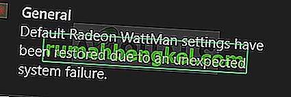 Cómo corregir la & lsquo; La configuración predeterminada de Radeon WattMan se ha restaurado debido a una falla inesperada del sistema & rsquo; ¿Error en Windows?