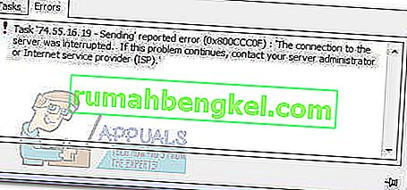 תיקון: מזהה שגיאת דואר של Windows Live 0x800ccc0f