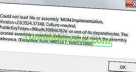 Як виправити не вдалося завантажити файл або збірку & lsquo; MOM.Implementation & rsquo; у Windows 7, 8 та 10