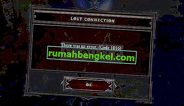 Arreglo: Código de error 1016 de Diablo 3